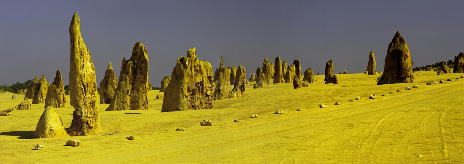 The Pinnacles. Are limestone formations contained within Nambung National Park, near the town of Cervantes, Western Australia.  remained unknown to most stock image