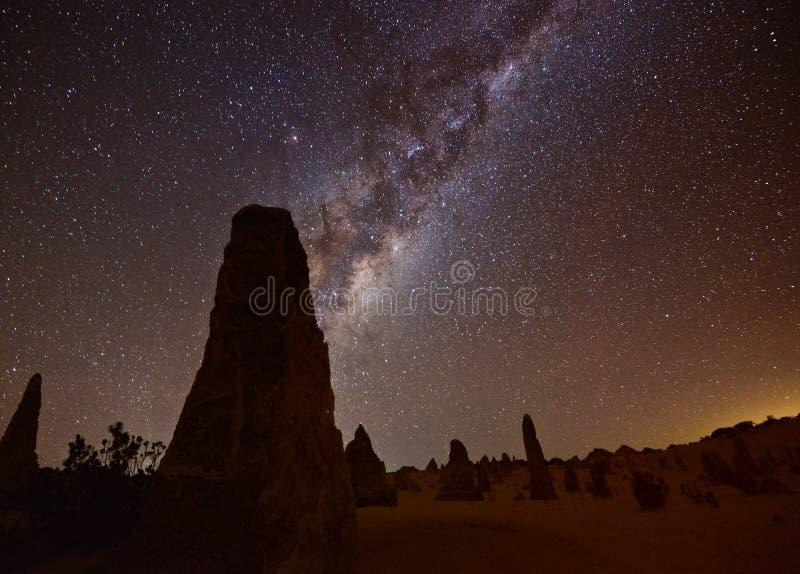 Pinnacles Milky Way. Milky way at the Pinnacles Nation Park, Western Australia stock images