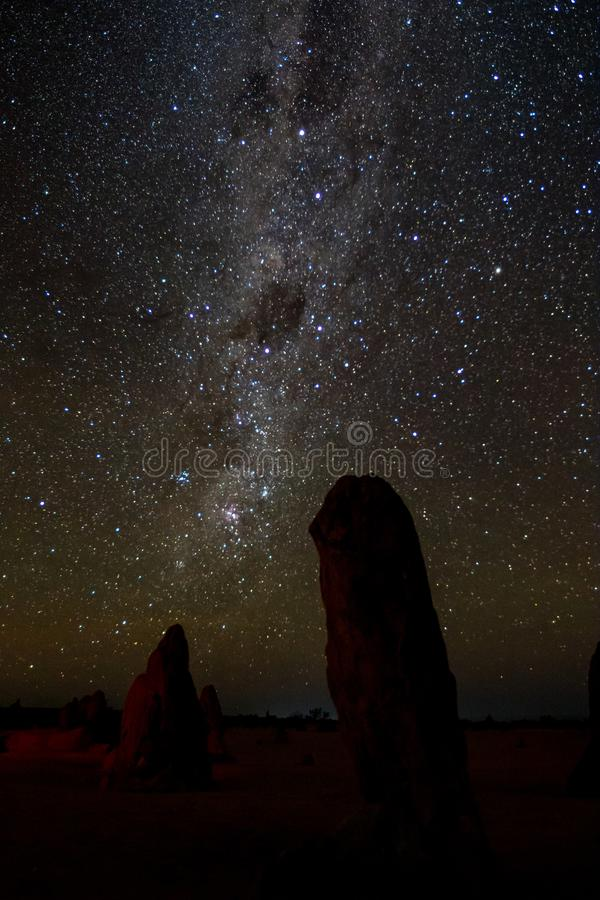 Night shot of the Pinnacles with the Milky Way royalty free stock image