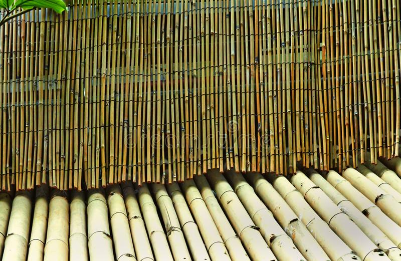 Pinnar av brun och grön bambu i olik skuggamodell arkivbilder