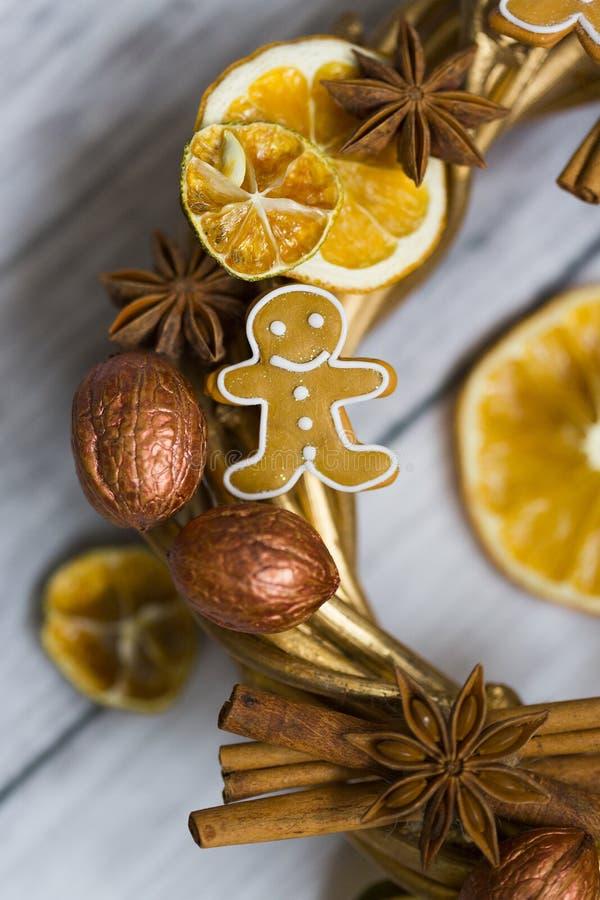 Pinnar av kanel, blommor av badian eller anis, torkade apelsiner och citroner och pepparkakamän royaltyfria foton