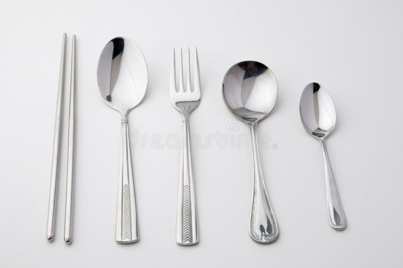 pinnar fork skedrostfritt stål royaltyfri fotografi