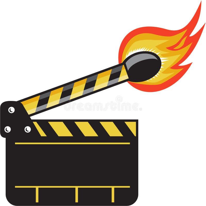 Pinne för match för Clapperbräde på Retro brand stock illustrationer