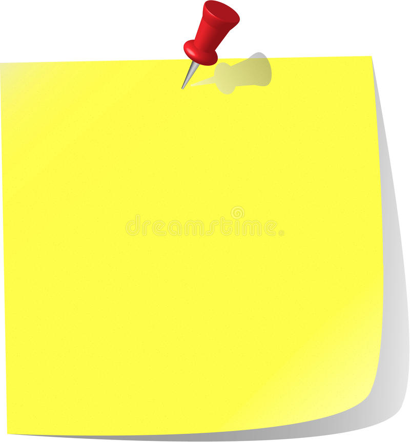 Download Pinned Note Paper, Canary Yellow Stock Vector - Illustration: 11968034