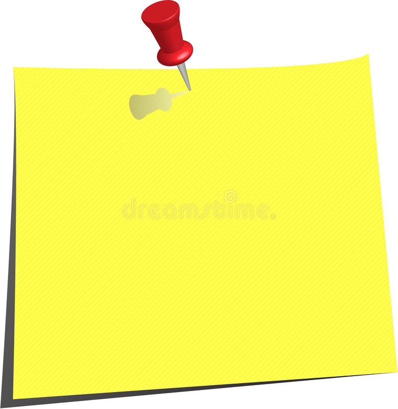 Download Pinned Note Paper, Canary Yellow Stock Vector - Image: 11968364