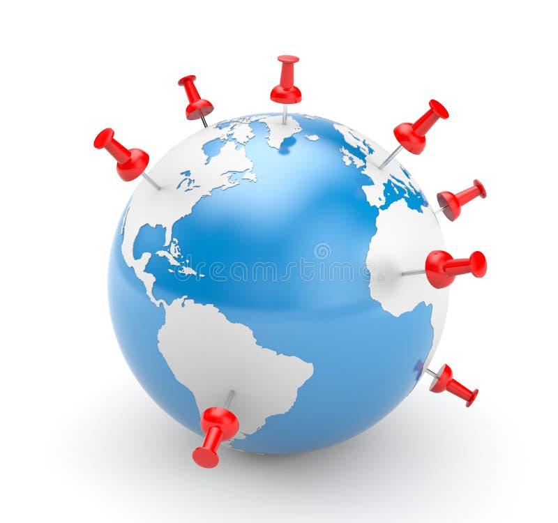 Pinned world stock illustration