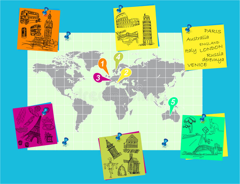 Download Pinned On The World Map To Travel Stock Illustration - Illustration of europe, journey: 23698159