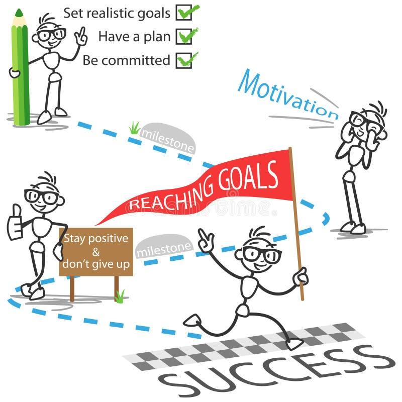 Pinnediagram för målframgång för stickman nående motivation royaltyfri illustrationer