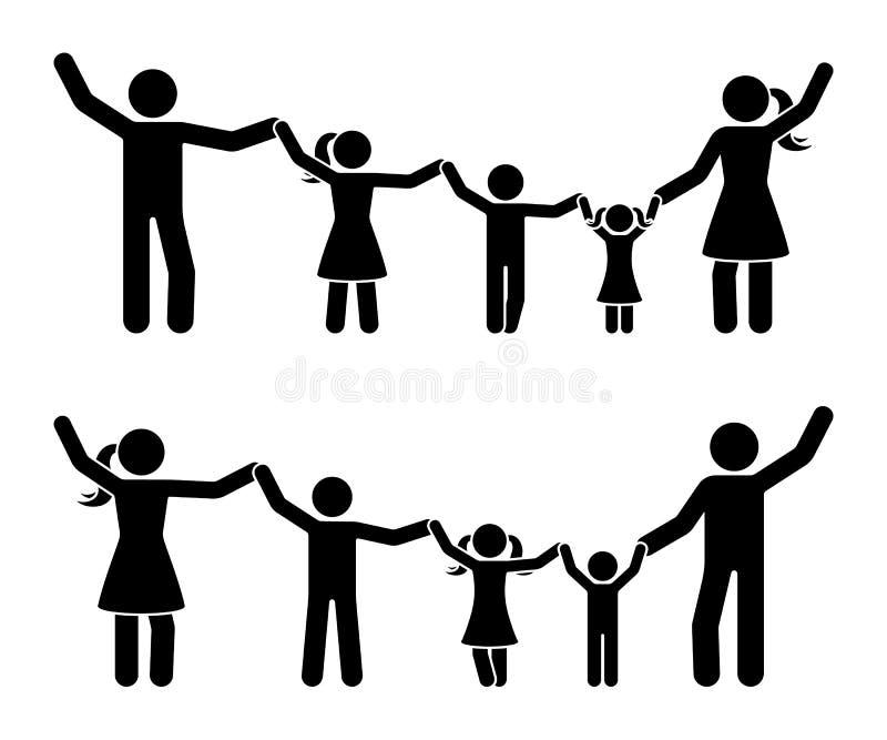 Pinnediagram händer upp lycklig familjsymbolsuppsättning Föräldrar och barn som har pictogramen för gyckel tillsammans royaltyfri illustrationer