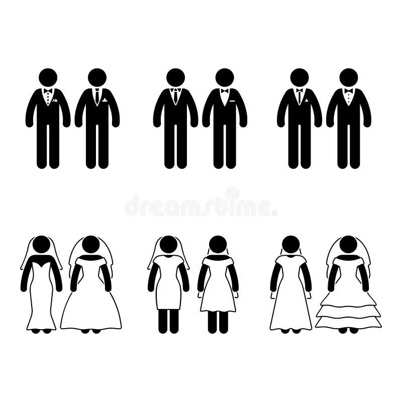 Pinnediagram homobröllopuppsättning royaltyfri illustrationer