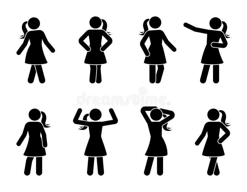 Pinnediagram kvinnor som poserar symbolsuppsättningen Stående pictogram för ställing för främre sikt för ung dam stock illustrationer