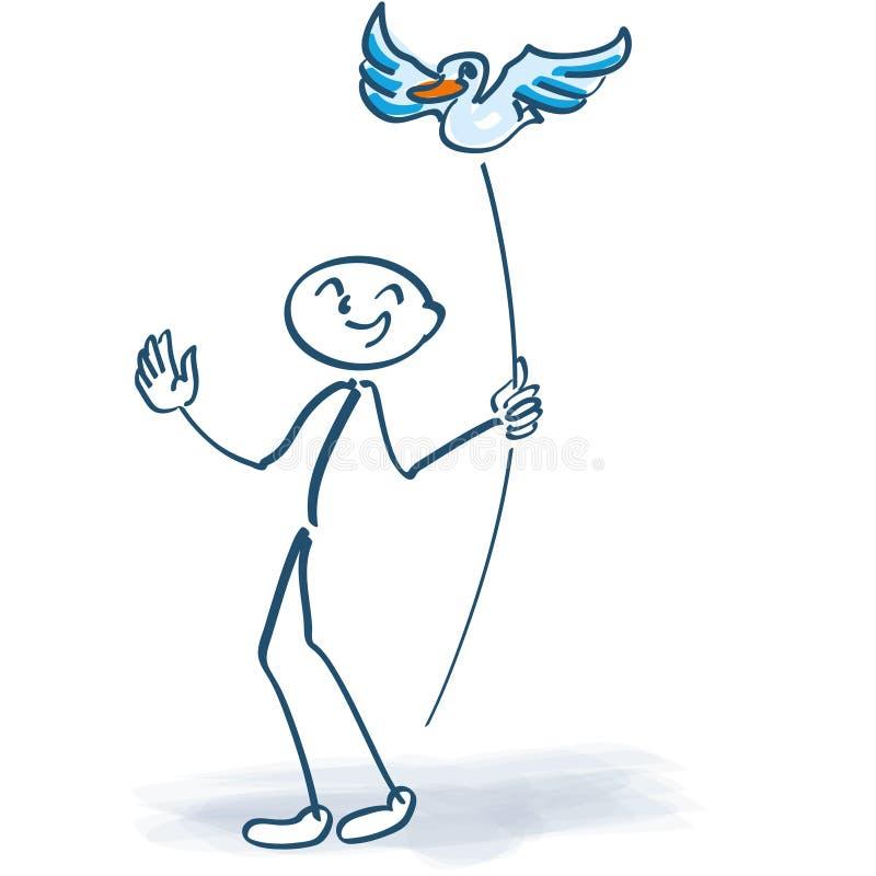 Pinnediagram med fågeln på en pinne vektor illustrationer