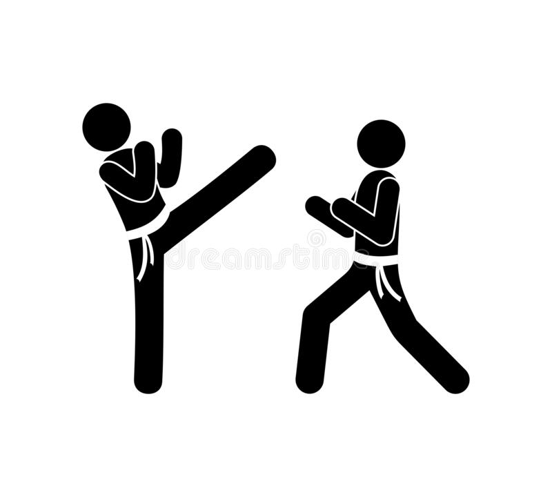 Pinnediagram pictogram, folk, karate som isoleras, vektor royaltyfri illustrationer