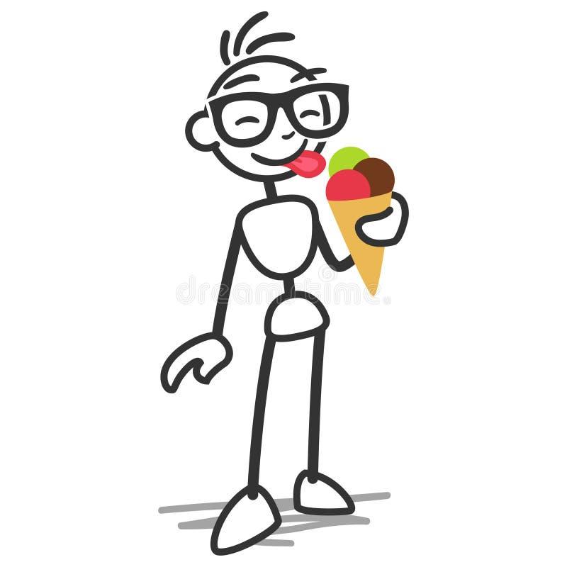 Pinnediagram pinneman som äter glass stock illustrationer