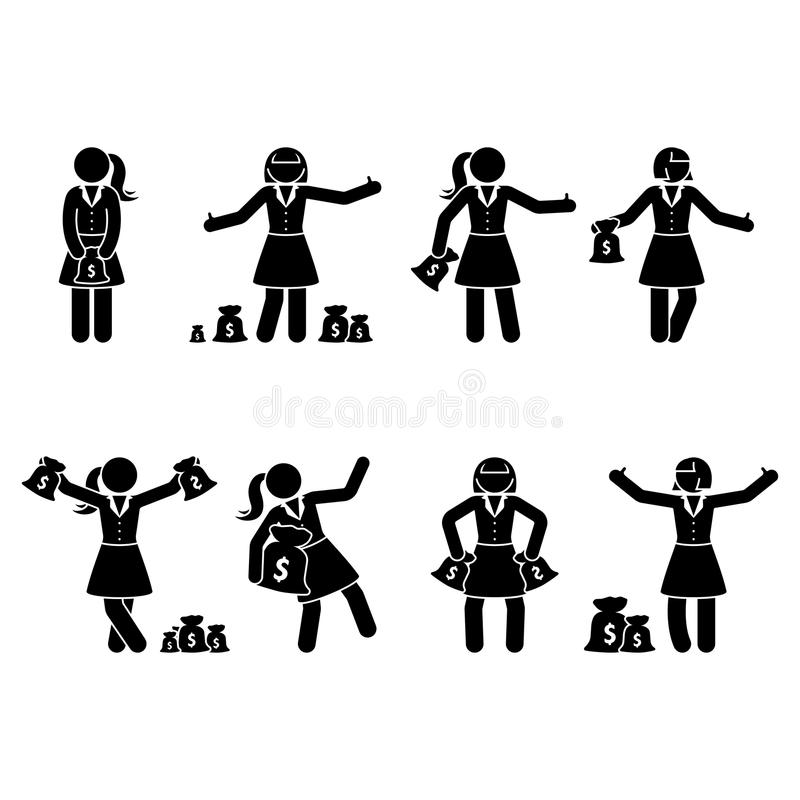 Pinnediagram rik affärskvinnauppsättning Vektorillustration av den hållande pengarpåsen för lycklig flicka på vit vektor illustrationer