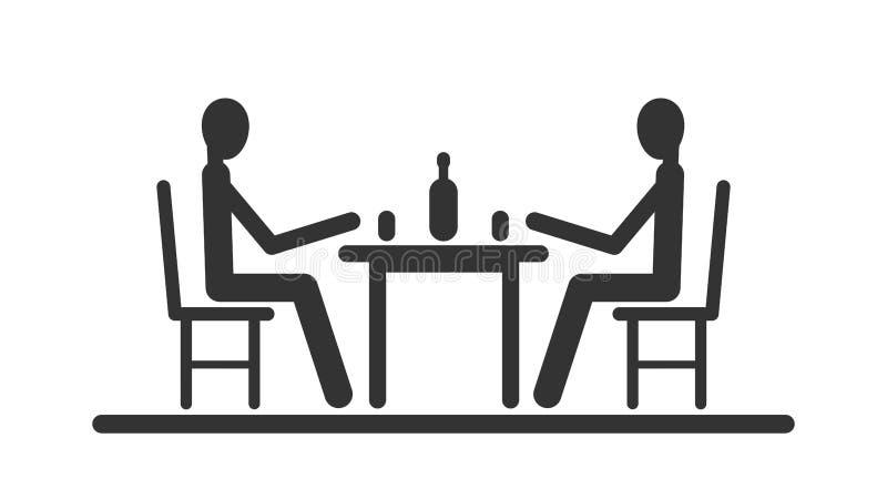 Pinnediagram sammanträde för Pictogram två på tabellen stock illustrationer
