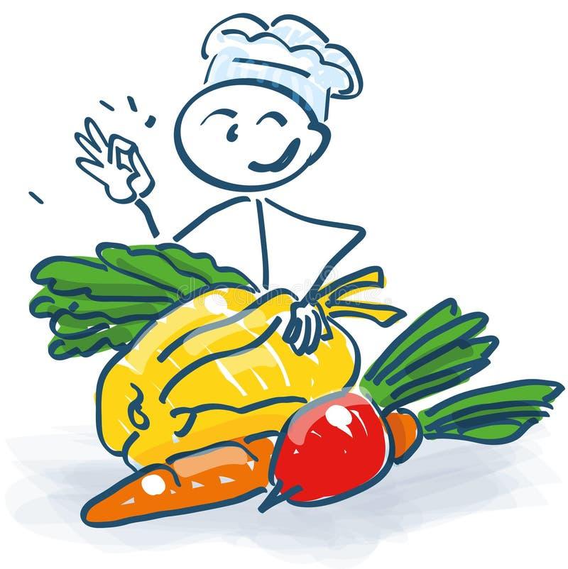 Pinnediagram som en kock med grönsaker royaltyfri illustrationer