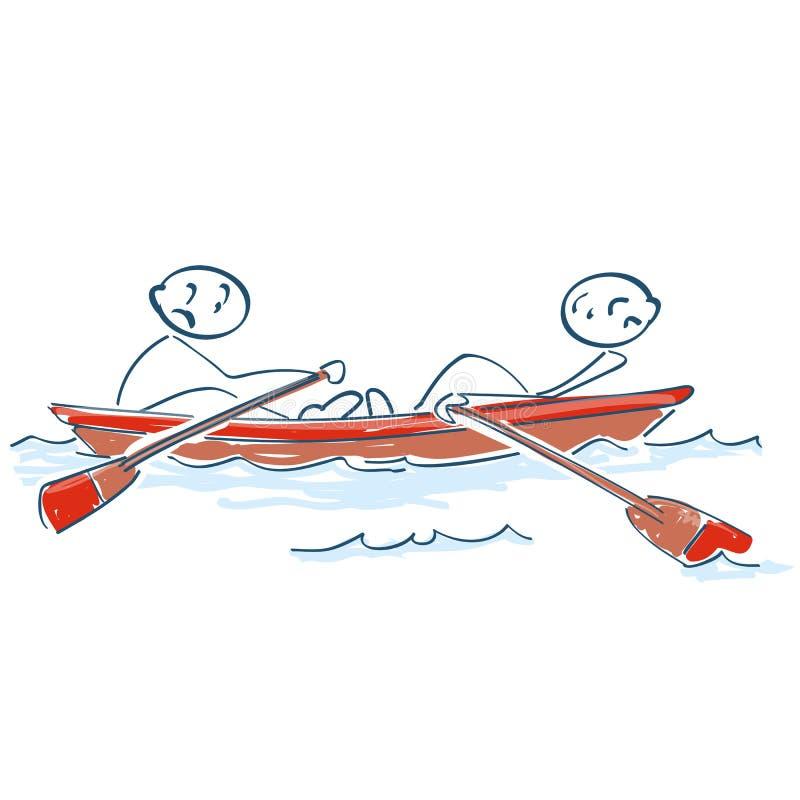 Pinnediagram som mot varandra ror i ett fartyg stock illustrationer