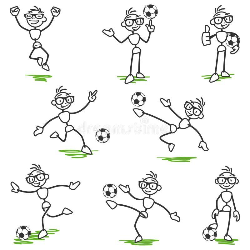 Pinnediagram stickmanfotbollfotbollsspelare vektor illustrationer