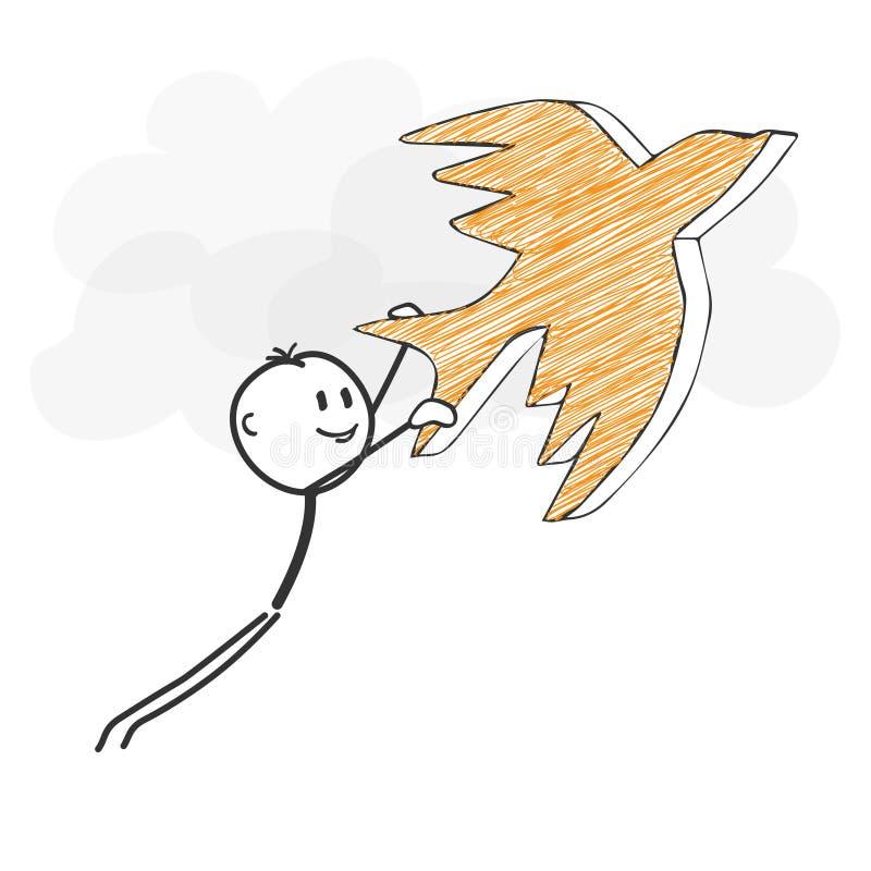 Pinnediagram tecknad film - Stickman flyg med en fågelsymbol vektor illustrationer