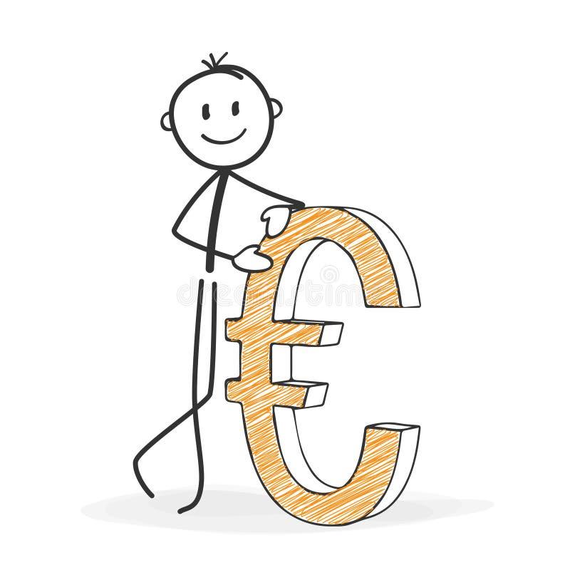 Pinnediagram tecknad film - Stickman med en eurosymbol stock illustrationer
