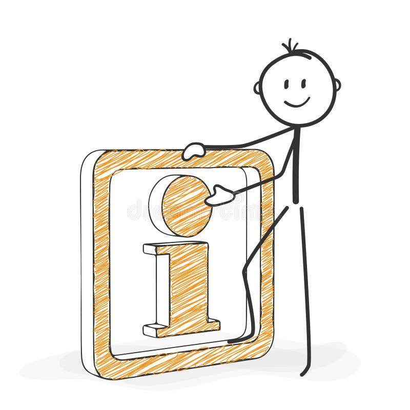 Pinnediagram tecknad film - Stickman med en informationssymbol royaltyfri illustrationer
