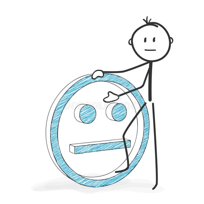 Pinnediagram tecknad film - Stickman med en neutrala Smiley Icon royaltyfri illustrationer