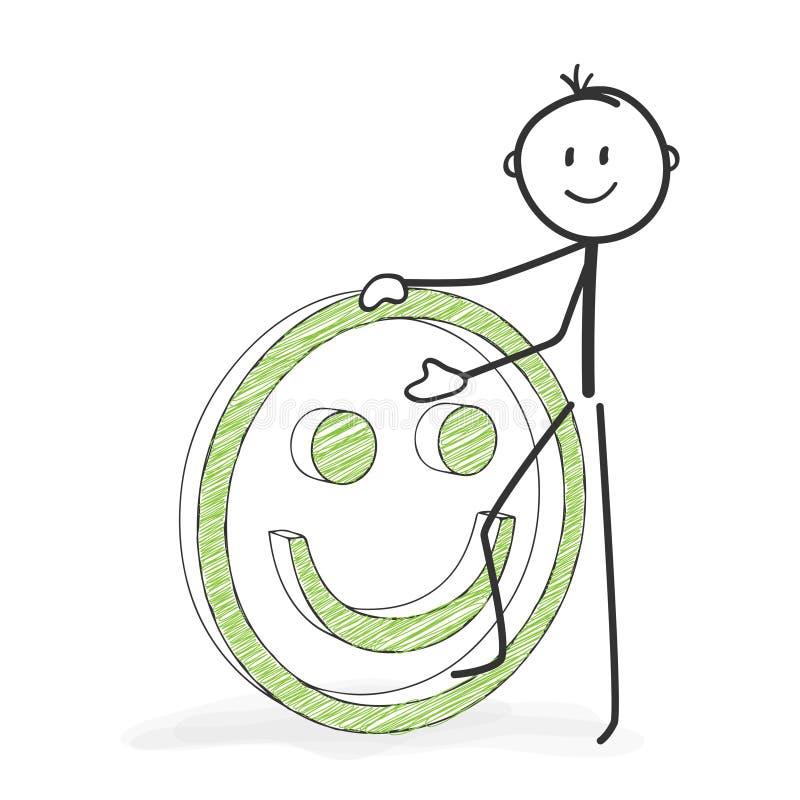 Pinnediagram tecknad film - Stickman med en positiva Smiley Icon vektor illustrationer