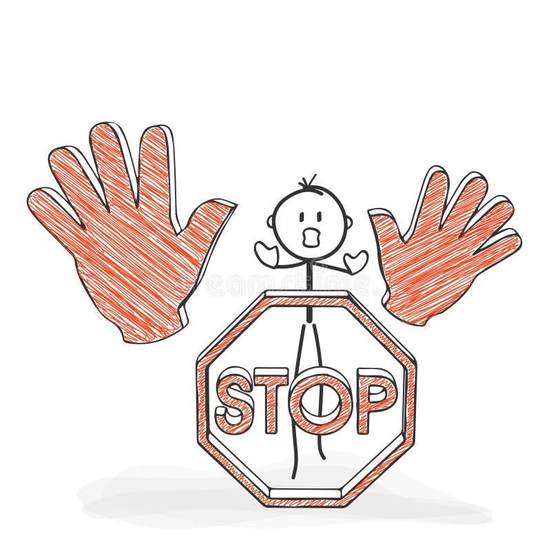 Pinnediagram tecknad film - Stickman med ett stopptecken - symbol vektor illustrationer
