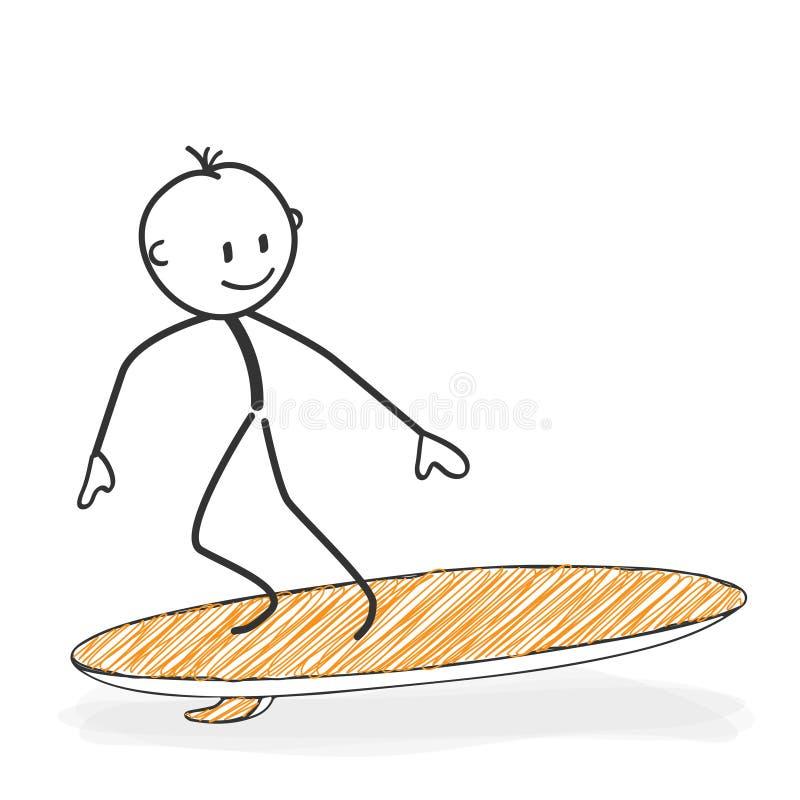 Pinnediagram tecknad film - Stickman på en surfingbrädasymbol vektor illustrationer