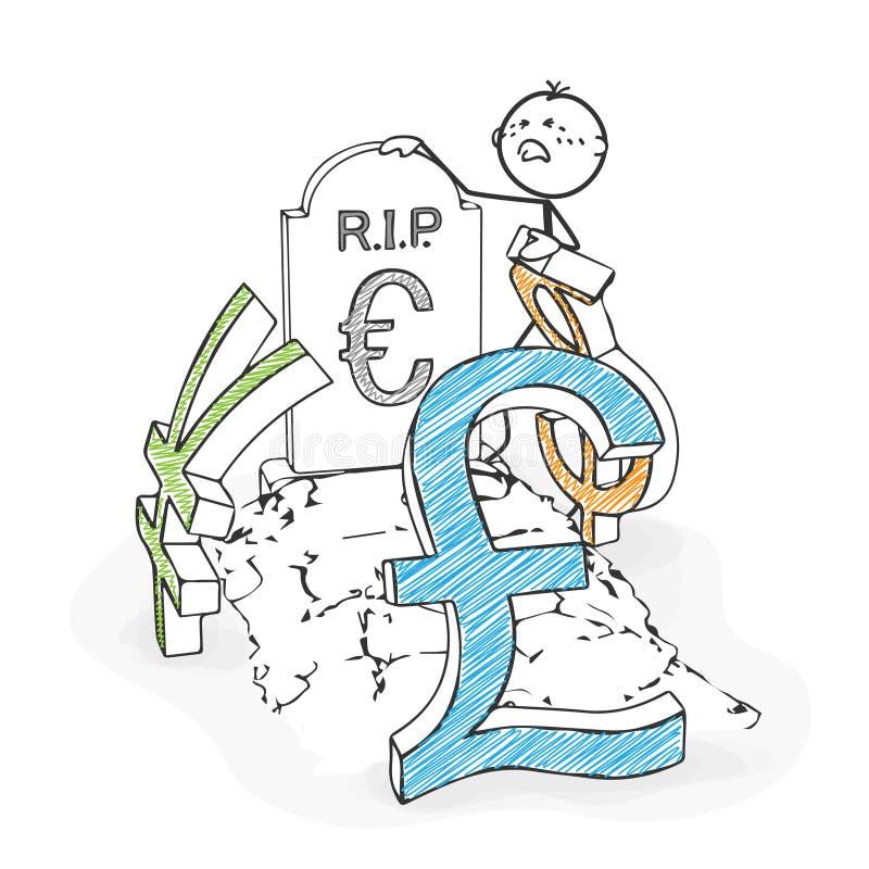 Pinnediagram tecknad film - Stickman sörjer euroet Dollar yen, Po royaltyfri illustrationer
