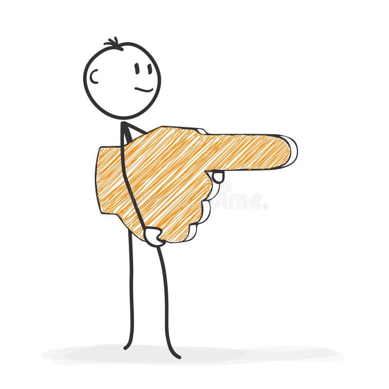 Pinnediagram tecknad film - Stickman visar riktningen med en hand stock illustrationer