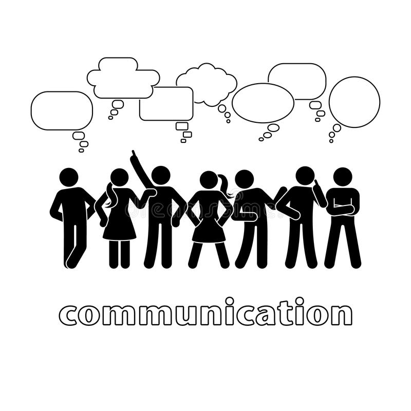 Pinnediagram uppsättning för bubblor för dialogkommunikationsanförande Tala och att tänka, pictogram för kroppsspråkgrupp människ stock illustrationer