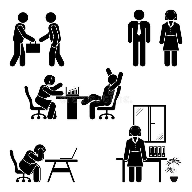 Pinnediagramet kontor poserar uppsättningen Service för affärsfinansarbetsplats Arbeta och att sitta och att tala och att möta, u vektor illustrationer