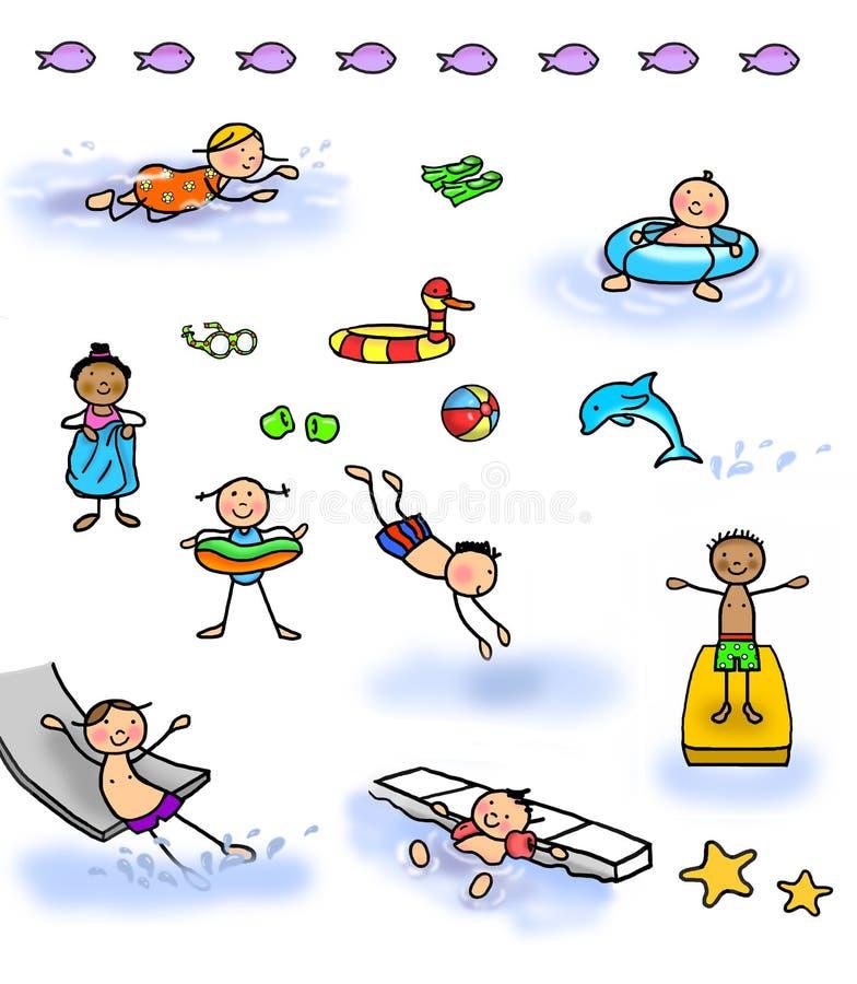 Pinnediagramet lurar simning vektor illustrationer