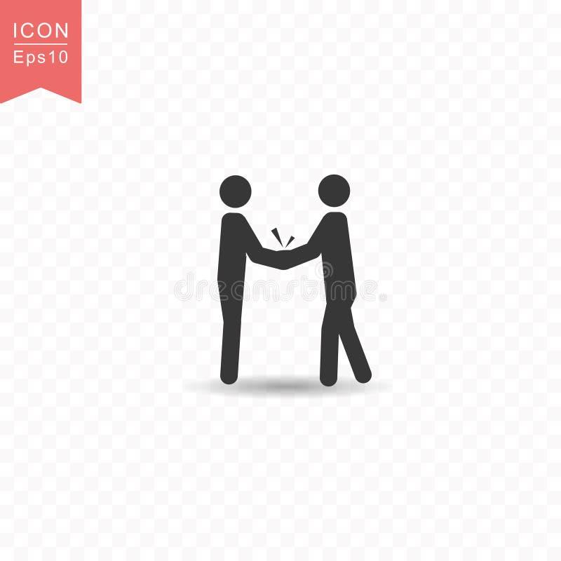 Pinnediagramet två affärsfolk gör illustrationen för vektorn för stil för handskakningkontursymbolen den enkla plana på genomskin vektor illustrationer
