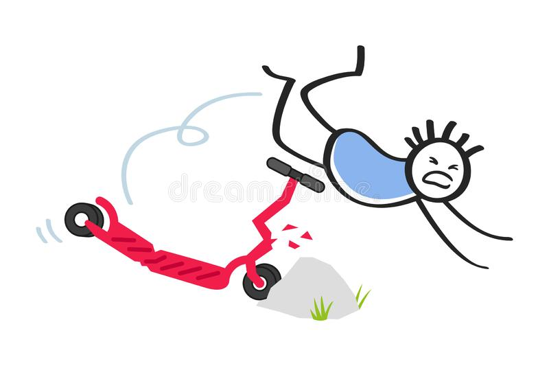 Pinneman som kraschar hans elektriska sparkcykel in i hindret, manöverskrift över styren av den skadade sparkcykeln stock illustrationer
