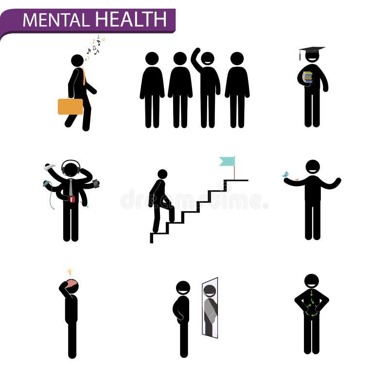 Pinnemanuppsättning Regler för mentala hälsor royaltyfri illustrationer