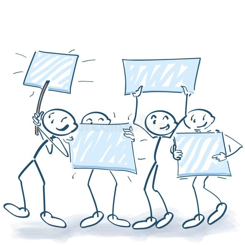 Pinnen figurerar marsch på en demonstration och ett hållande övre tecken stock illustrationer