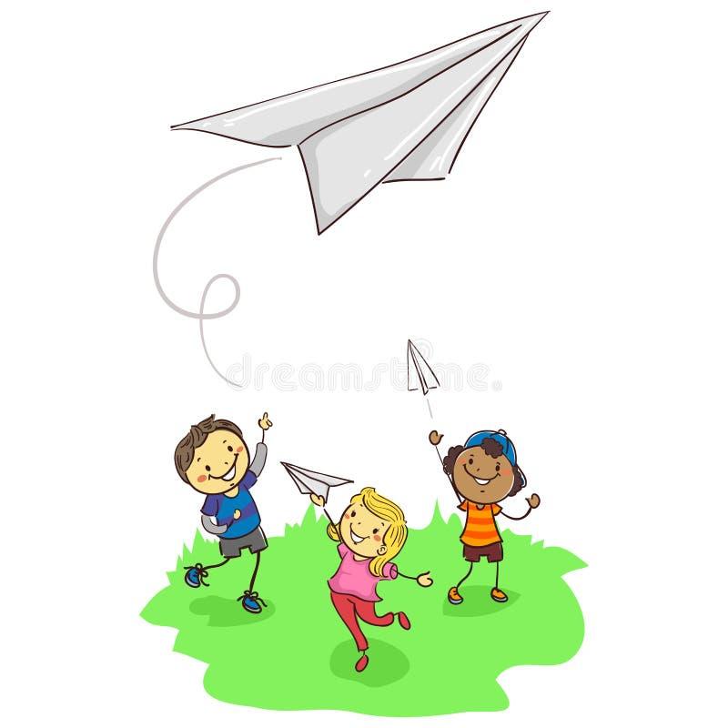Pinneungar som spelar pappersnivån vektor illustrationer