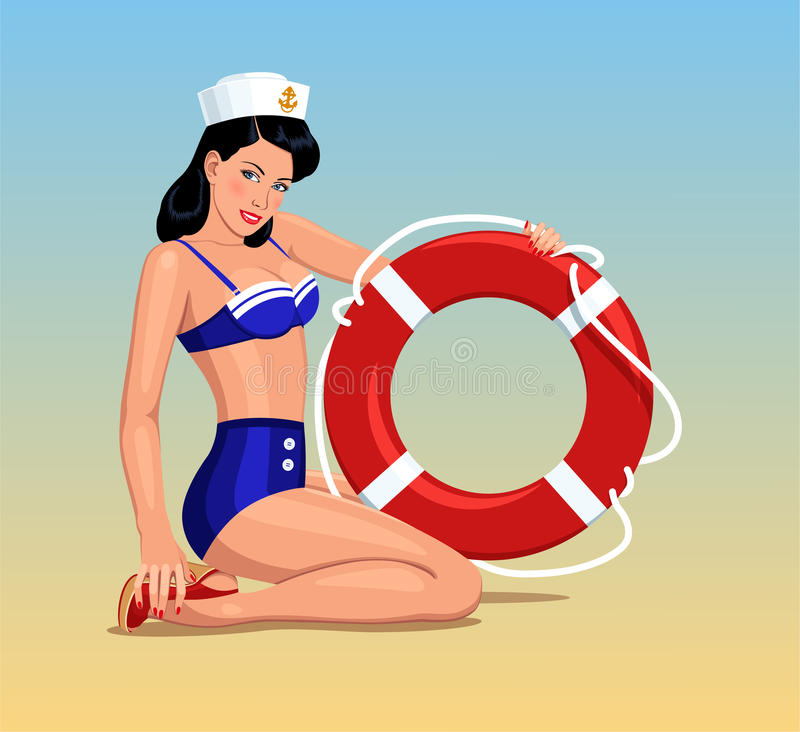 Pino-acima da menina do marinheiro ilustração royalty free