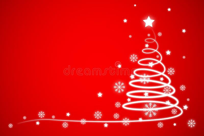 Pino con el fondo de los cristales y de las estrellas de hielo en concepto del día de fiesta de la Navidad stock de ilustración