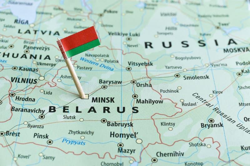 Pino da bandeira do mapa de Bielorrússia fotos de stock