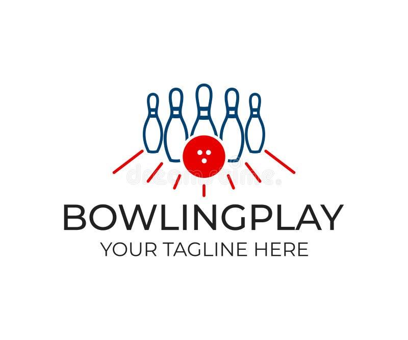 Pino de boliches com bola e pinos brancos para o jogo, molde do logotipo Jogando o boliches, o jogo, o lazer e o esporte, projeto ilustração stock