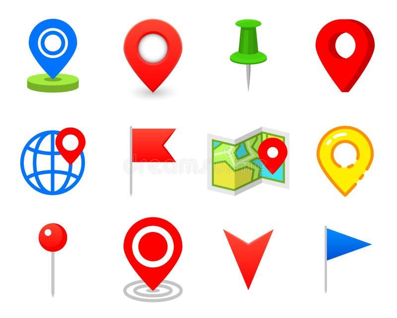Pino de Geo como o logotipo Geolocation e navegação Ícone para o mapa, o móbil ou os dispositivos gps para o design web, botão pa ilustração royalty free