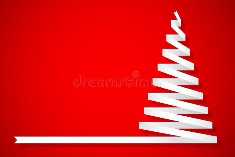 Pino de la Navidad hecho de cinta en fondo rojo stock de ilustración