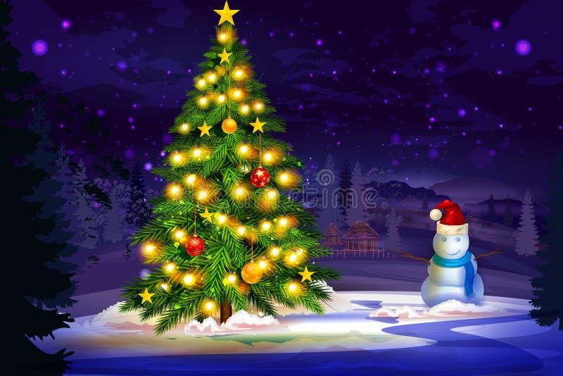 Pino decorato per la celebrazione di festa di Buon Natale royalty illustrazione gratis
