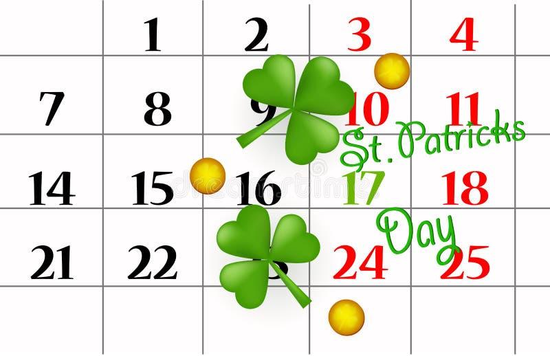 Pino do calendário do dia do St Patricks em março, moedas de ouro, folha do trevo Eps 10 Vetor ilustração stock