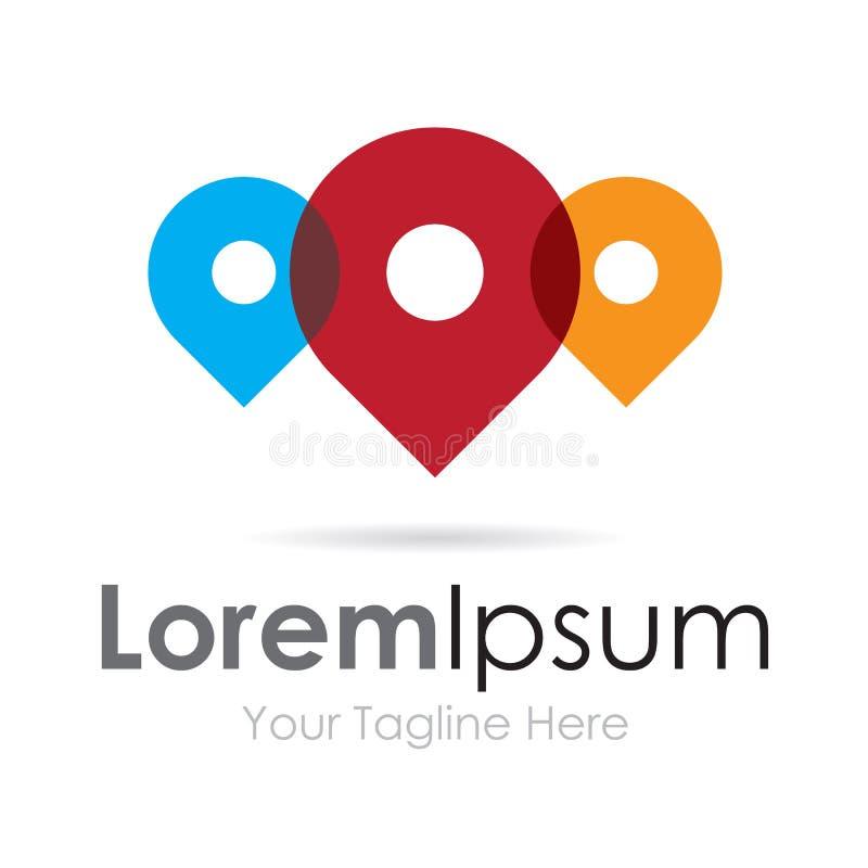 Pino do lugar colorido e logotipo simples do ícone do negócio do divertimento ilustração royalty free
