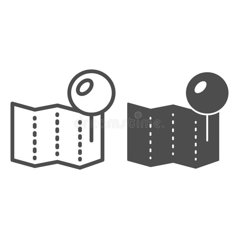 Pino do lugar na linha do mapa e no ícone do glyph Ilustração de papel do vetor do pino isolada no branco Projeto do estilo do es ilustração royalty free